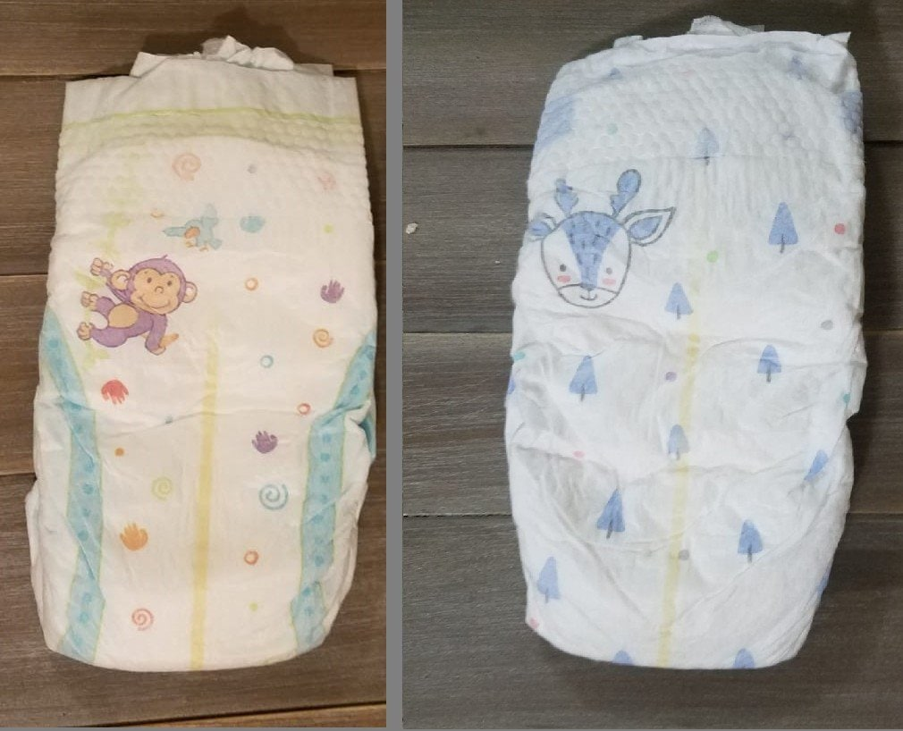 left - old kirkland diapers. right - new kirkland diapers 2020