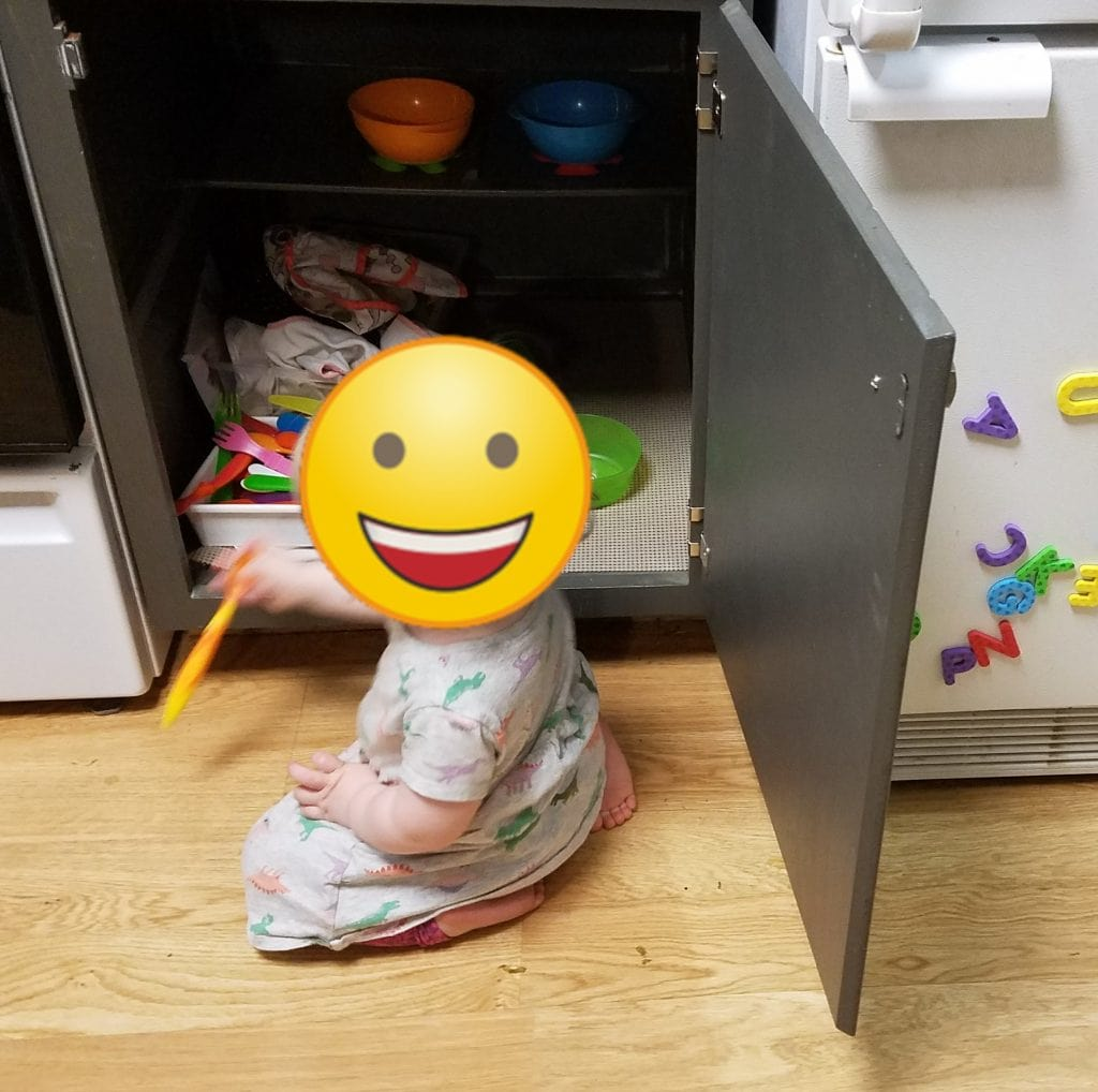 keep your baby away from the water cooler by distracting them with toys nearby! Or the contents of the kitchen cabinets