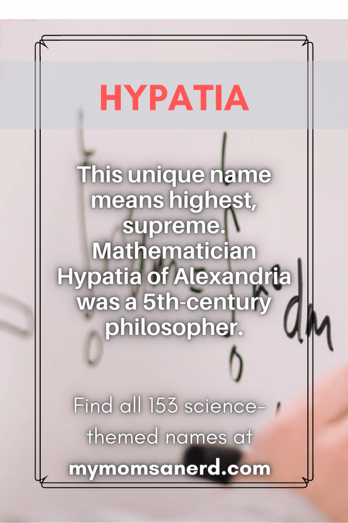 hypatia - this unique name means highest, supreme. Mathematician Hypatia of Alexandria was a 5th-century philosopher