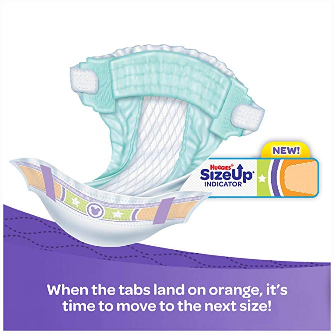 use the size up indicators to ensure you have a proper diaper fit!